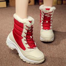 雪地靴女鞋中筒靴冬季北方加厚棉鞋平跟防寒防水舒适保暖加毛女靴
