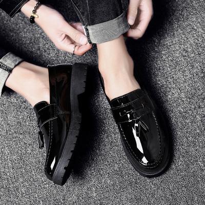 英伦皮鞋套脚休闲皮鞋新款男士帅气百搭男鞋夜店发型师黑亮面板鞋