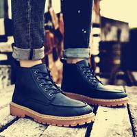 马丁靴男冬季加绒保暖工装靴英伦风高帮短靴子男潮流复古男款皮靴