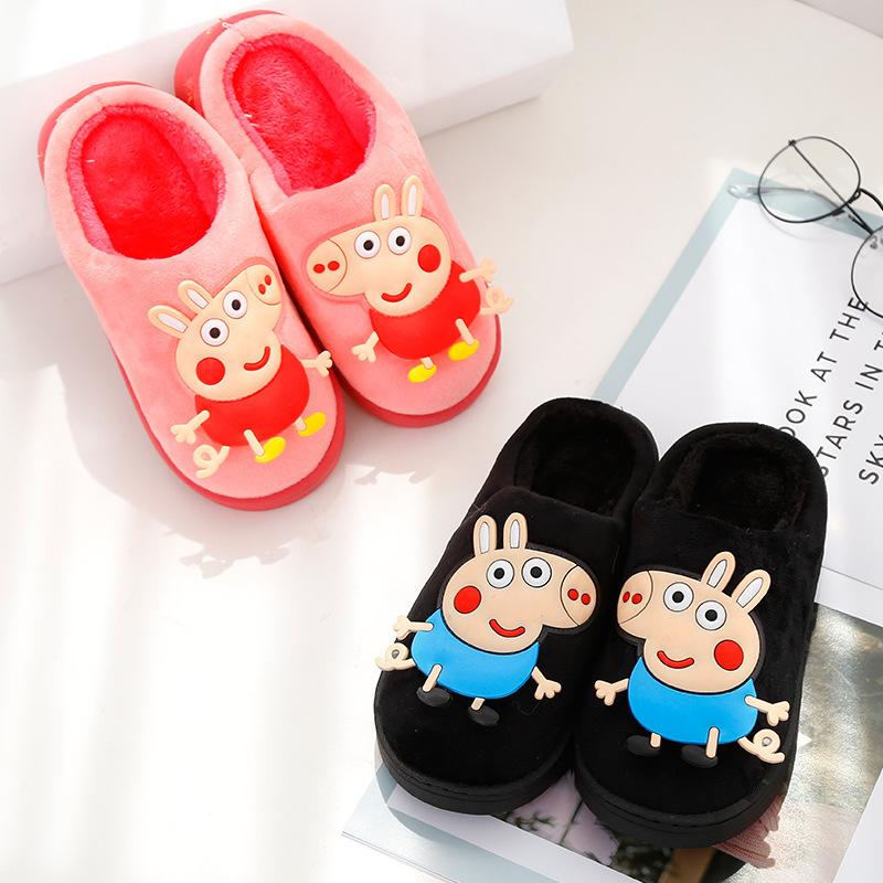 毛拖鞋不童三口可爱新款图案女小猪佩奇拖鞋儿童冬有包登保暖男童