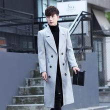 春季加长风衣男韩版长款过膝修身帅气毛呢大衣男呢子青年时尚外套