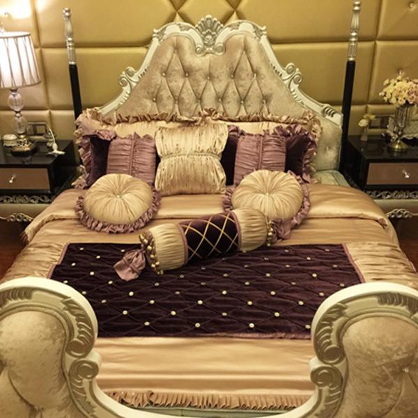 样板间床品 新古典床品欧式床品定制紫色床品水洗丝床品高档裸睡
