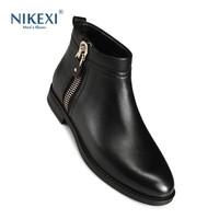 尼克西冬季真皮马丁靴新款英伦皮靴加绒保暖靴子时尚短筒潮男鞋