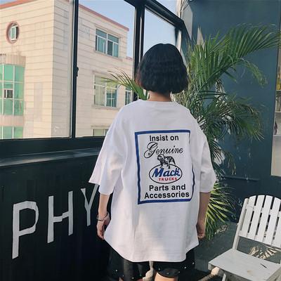 短袖T恤女夏装ulzzang韩版原宿BF风学生宽松中长款社会半袖上衣女