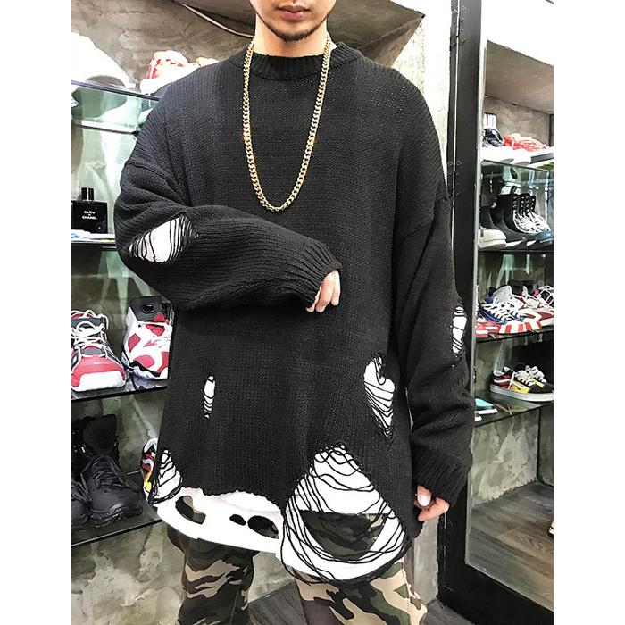 东大门韩国男装代购嘻哈范潮款超酷大破洞乞丐风蝙蝠袖毛衣19春装