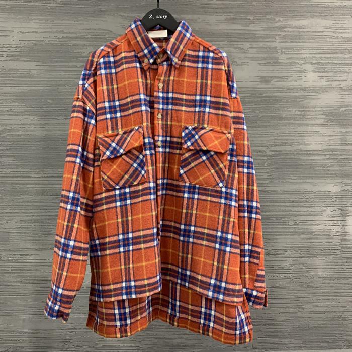 东大门韩国男装代购格子撞色大码方领前短后长衬衫长袖上衣外套潮
