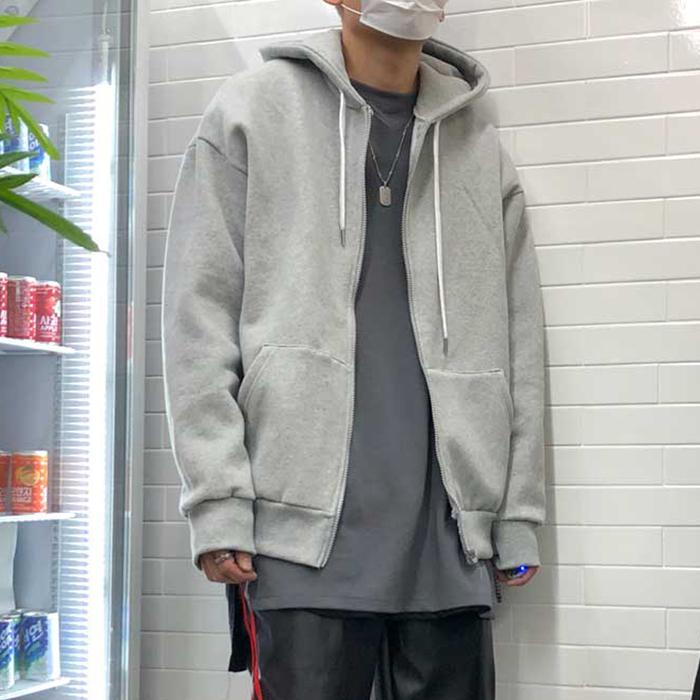 东大门韩国男装代购素雅纯色连帽落肩宽松百搭休闲卫衣开衫外套18
