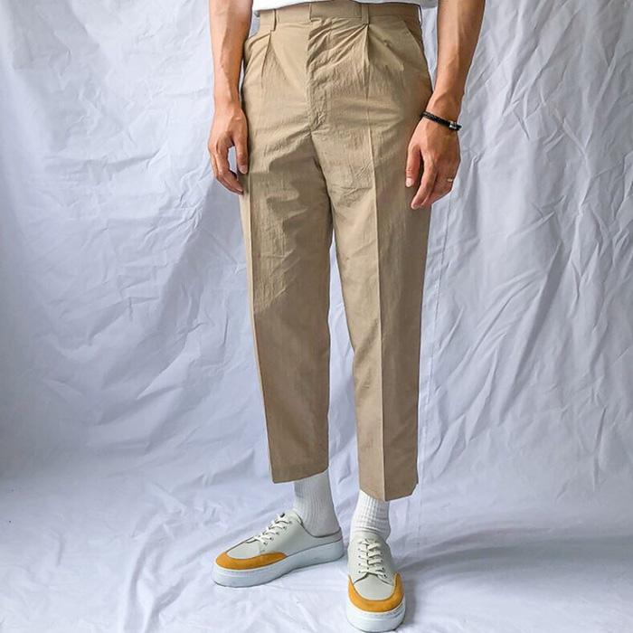 东大门韩国男装代购精致宽松直筒阔腿褶皱休闲裤西装裤九分裤