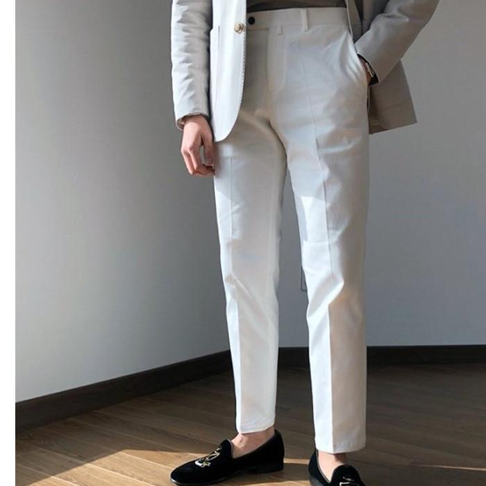 韩国东大门男装代购商务气质修身微锥小直筒韩版长裤休闲裤西裤