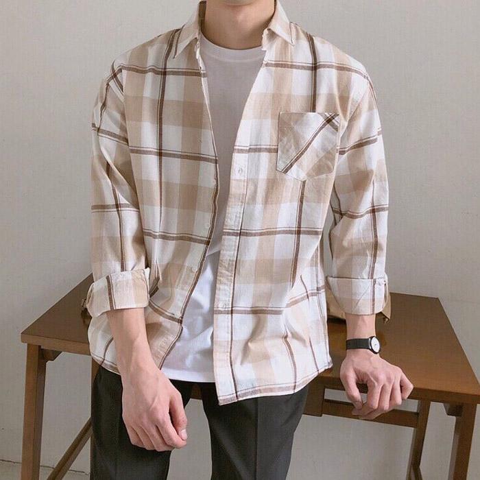 东大门韩国男装代购英伦风精致格纹撞色微阔大码方领衬衫长袖衬衣