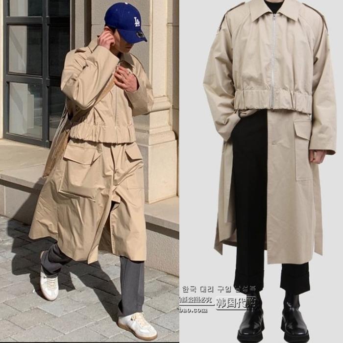 东大门韩国男装代购实拍设计师秀款拼接假两件新款中长款外套风衣