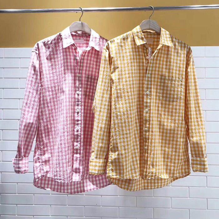 东大门韩国男装代购精致格子混色舒适棉质薄款方领宽松衬衫衬衣19