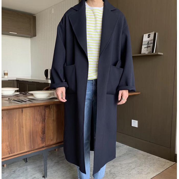 东大门韩国男装代购高端面料无扣微阔气质长款风衣外套绳带束腰