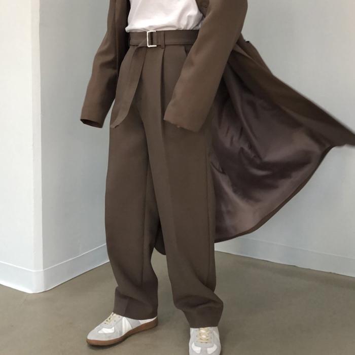 东大门韩国男装代购秀款卡扣收腰潮流宽松阔腿直筒休闲裤质感西裤