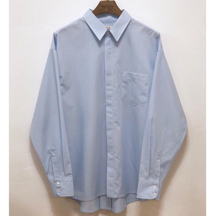 韩国东大门男装代购纯色舞台大码翻领落肩长袖衬衫潮流宽松衬衣