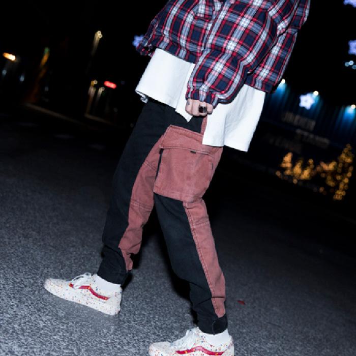 东大门韩国男装代购双材质拼接可束口工装小脚运动休闲裤秀款舞台