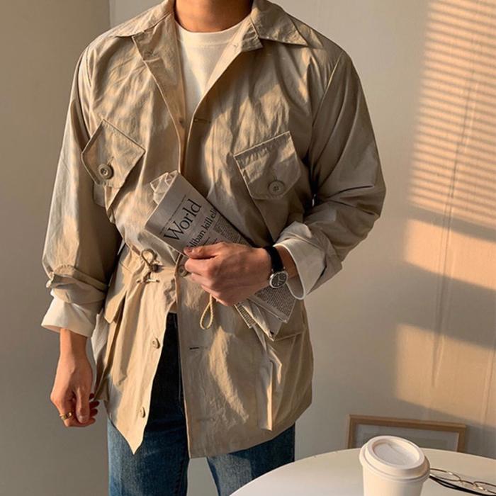 东大门韩国男装代购春夏薄款经典复古意式军装风口袋猎装夹克中长
