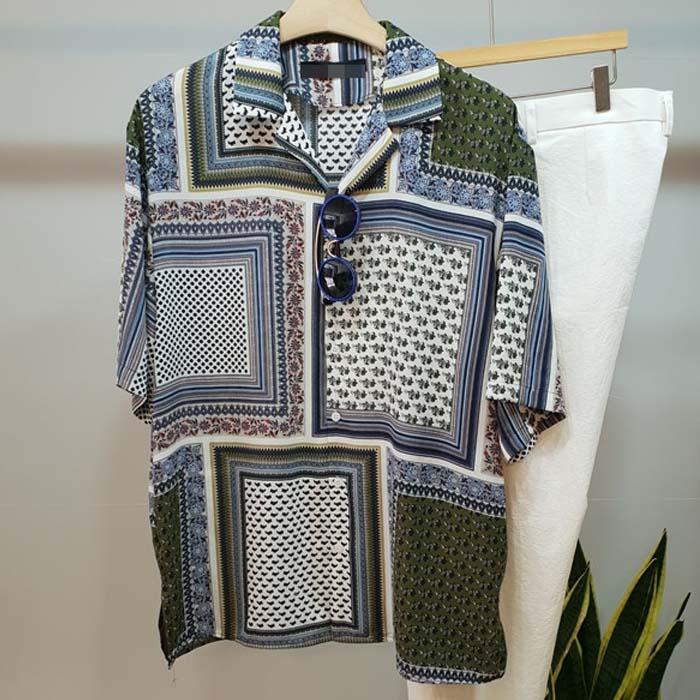 韩国代购男装东大门个性混色图案衬衣拼接宽松翻领薄款短袖衬衫