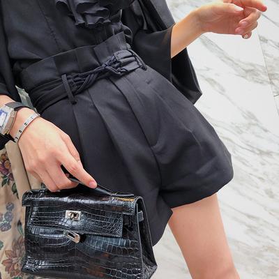 3件388】黑色高腰宽松短裤女小众设计感腰带修身显瘦韩版休闲裤子