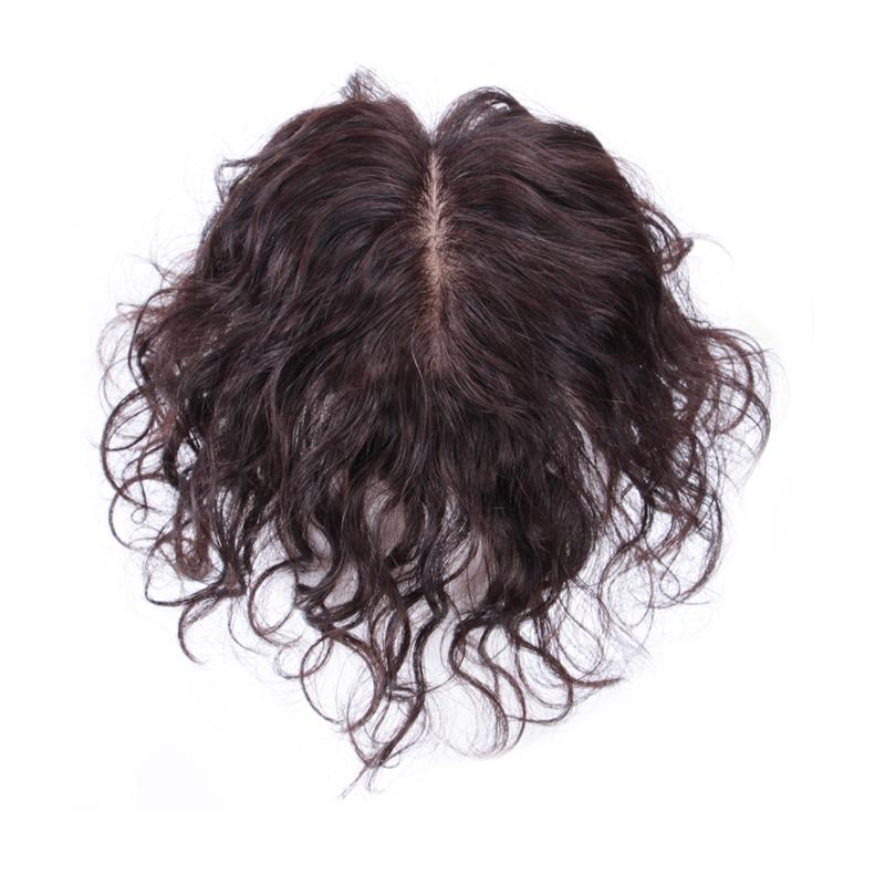 青丝黛假发蓬松头顶无痕遮白真发补发片手织女薄短卷发隐形补发块