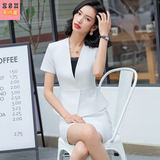 Short sleeve thin suit for women in spring and summer 2019 new collarless suit high-end fashion business casual dress