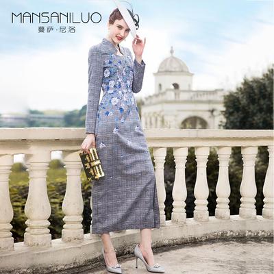 复古超长款连衣裙女灰色格子刺绣高腰立领修身显瘦下摆开叉一步裙