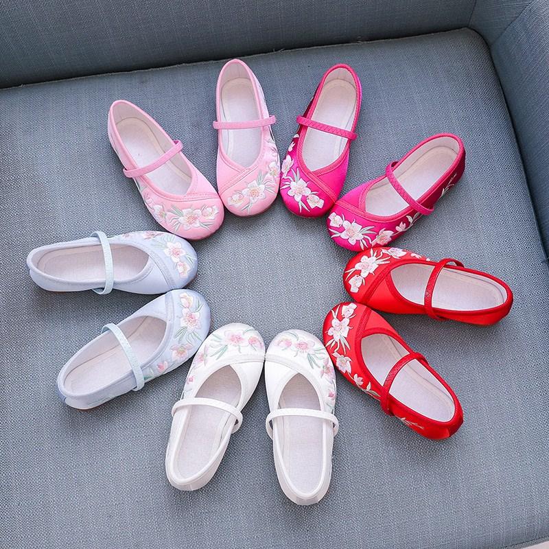 女宝绣花鞋儿童汉服鞋古风中国民族风古装公主老北京女童古代布鞋