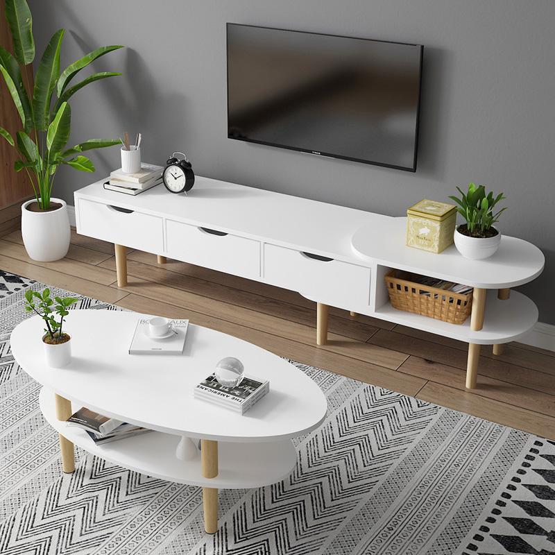 北欧电视柜茶几组合可伸缩实木脚轻奢简约现代小户型家用客厅套装