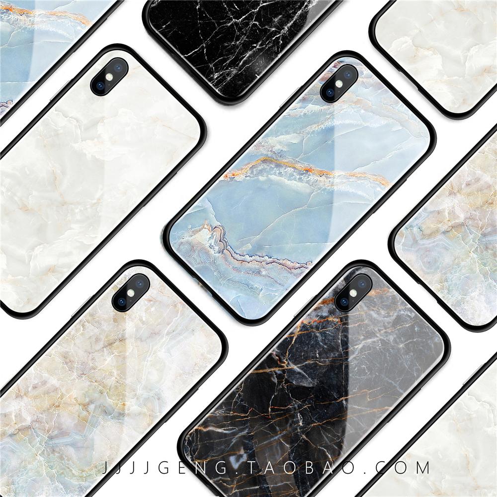 新款iphoneX苹果i6s/7/8plus玻璃镜面大理石纹手机壳防摔全包挂绳