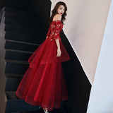 Bride toast 2019 new one-word shoulder-length skinny red wedding evening dress women spring long modern summer