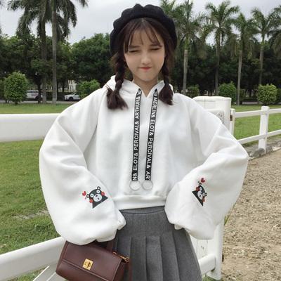 卫衣女秋冬装韩版宽松加绒加厚学生bf原宿风软妹可爱熊本熊外套潮
