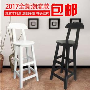 欧式实木吧台椅靠背复古高脚凳碳化圆凳做旧酒吧椅子白色高凳包邮