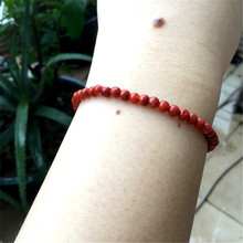 3-4mm Natural Sichuan Material Nanhong agate Single Ring Small Bead Hand String Persimmon Red Flame Bead Bracelet