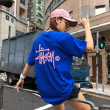 Stussy Stuart short-sleeved world parade couple T-shirt female limited classic long section loose half-sleeved shirt
