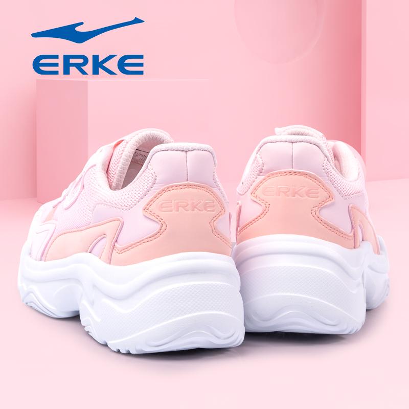 鸿星尔克2019新款秋冬运动鞋女鞋女士软底老爹鞋轻便白色跑步鞋子