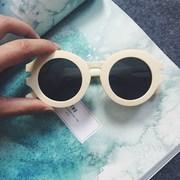 2015新款韩版糖果色韩国米白色圆形纯色墨镜潮百搭女太阳镜眼镜