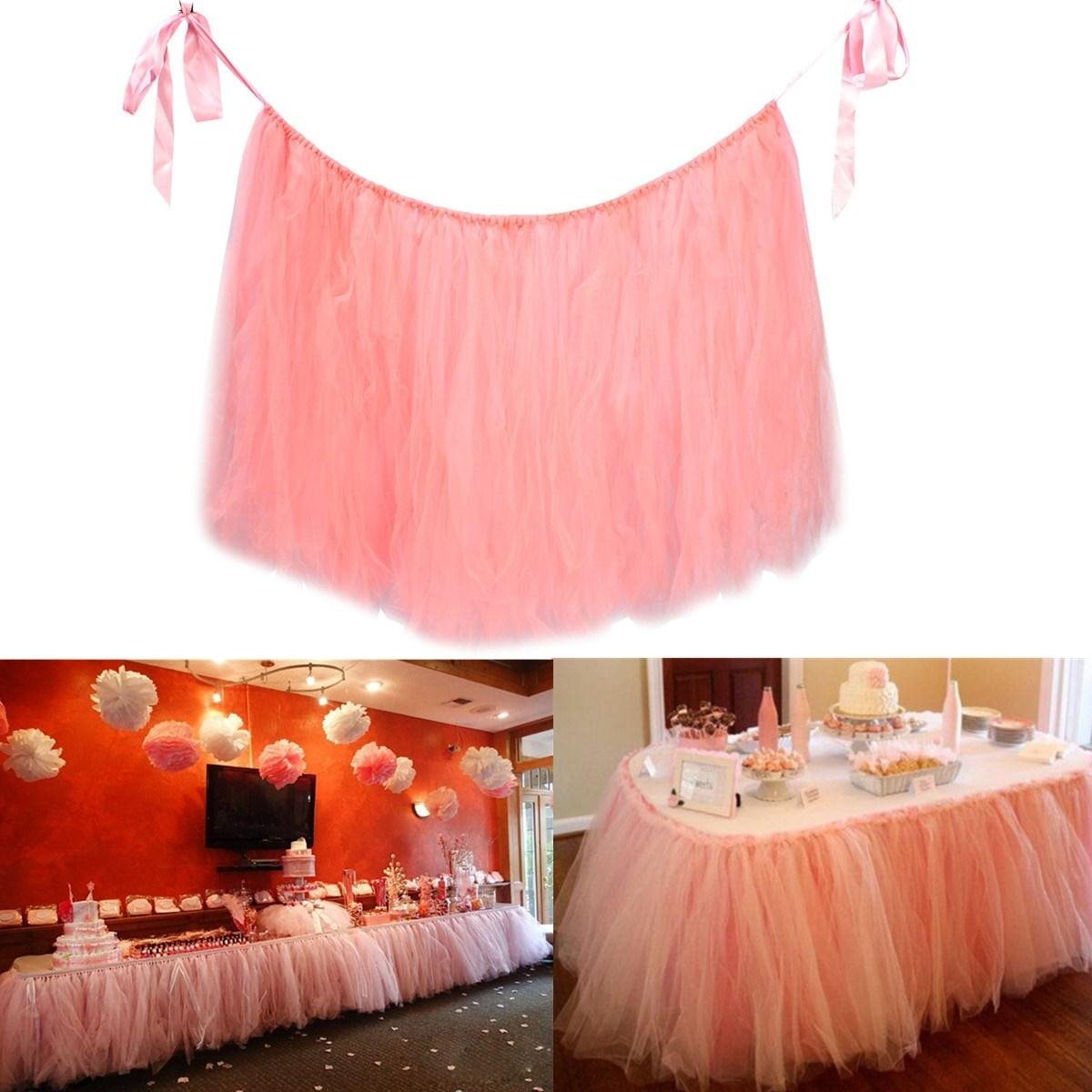 pink table skirt tulle tableware for wedding decoration tull
