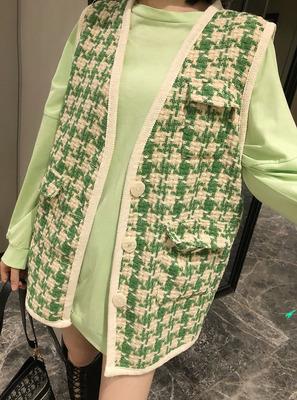 2019秋季新款宽松拼色小香风格子马甲女+长袖T恤两件套装女