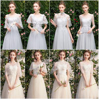 Bridesmaid dress temperament champagne color 2019 new summer thin cover arm sisters group dress skirt female long section