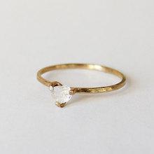 欧美设计白水晶情侣订婚结婚定制戒指 细圈纤细尾戒 18k金戒指