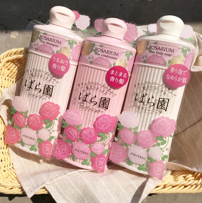 日本资生堂rosarium玫瑰园天然玫瑰香洗发水沐浴露柔顺滋润身体乳