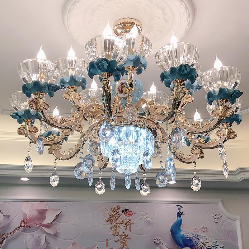 欧式吊灯客厅水晶灯简欧奢华大气法式轻奢餐厅卧室灯蓝色陶瓷灯具