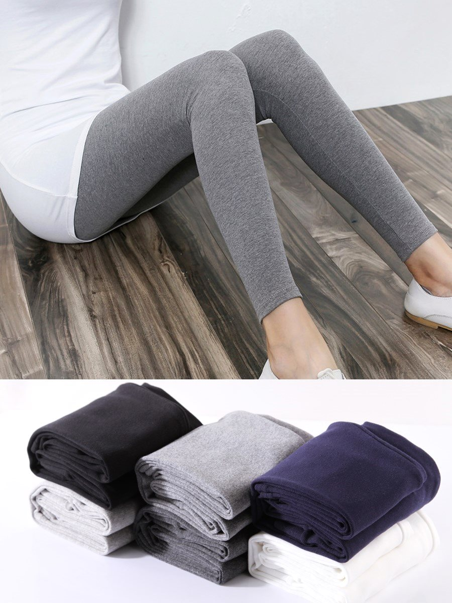 莫代尔秋裤女单件紧身修身弹力超薄款内穿纯棉长裤线裤打底裤秋。