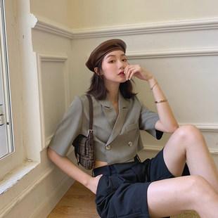 MLS短袖西装女薄款2019新款夏季洋气显瘦西服上衣韩版气质小外套