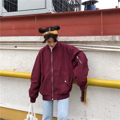 这个杀手不太冷欧美女装飞行员夹克薄款棒球服短外套情侣款飞行服