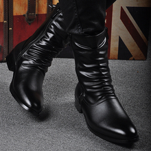 Spring and Summer Men's Boots Korean Edition Trend British Men's High Help Boots Martin Boots Men's Boots Increase Spiked Leather Boots