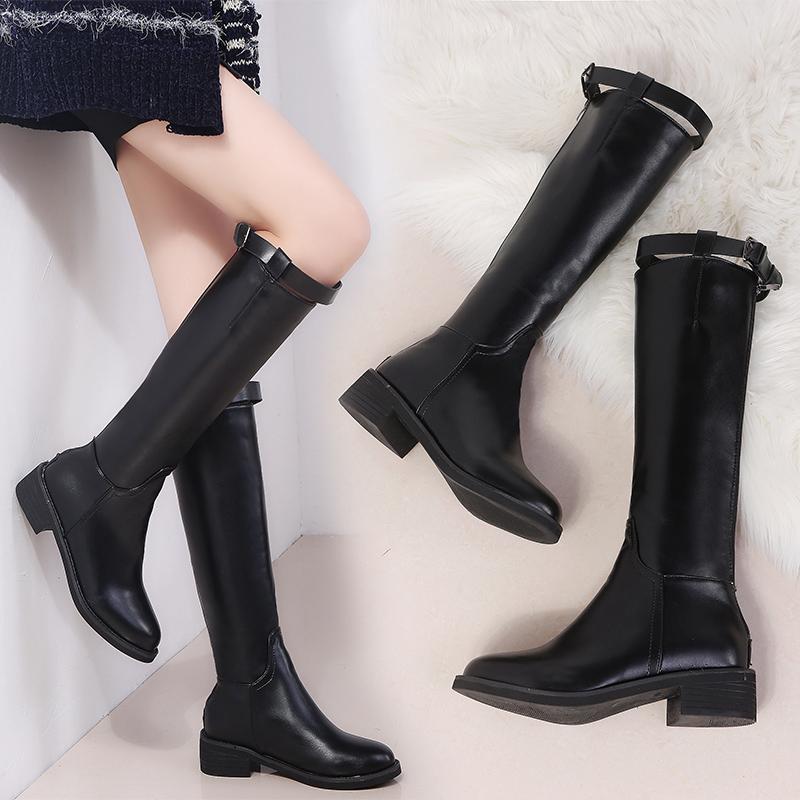 秋冬新款网红靴子皮靴女长靴单靴粗跟加绒高筒骑士靴长筒军靴马靴