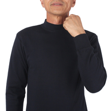 中年男士纯棉内衣中领上衣带领半高领中老年爸爸装长袖秋衣套装