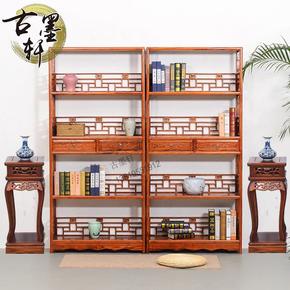 书架实木仿古书柜茶叶架榆木置物架四层二斗落地书架明清古典家具