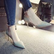 高跟包头夏季凉鞋女2018新款社会女鞋细跟5cm中跟百搭尖头单鞋